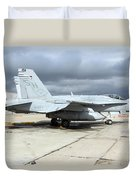 An Fa-18c Hornet On The Ramp At Marine Duvet Cover