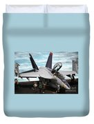 An Fa-18f Super Hornet Sits Duvet Cover by Stocktrek Images