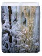 An Ice Climber Ascends A Frozen Duvet Cover