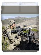 An Infantryman Provides Overwatch Duvet Cover