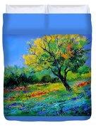 An Oak Amid Flowers In Texas Duvet Cover