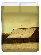 An Old Barn Just After An Early Spring Snow In Keene North Dakota  Duvet Cover