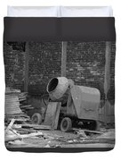 An Old Cement Mixer And Construction Material Duvet Cover