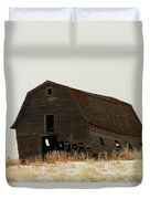 An Old Leaning Barn In North Dakota Duvet Cover by Jeff Swan