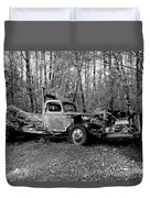An Old Logging Boom Truck In Black And White Duvet Cover