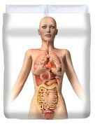 Anatomy Of Female Body With Internal Duvet Cover