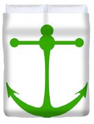Anchor In Green And White Duvet Cover