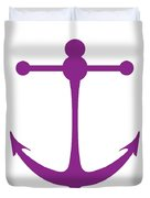 Anchor In Purple And White Duvet Cover