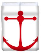 Anchor In Red And White Duvet Cover