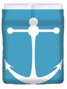 Anchor In White And Turquoise Blue Duvet Cover