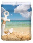 Anchor On The Beach Duvet Cover
