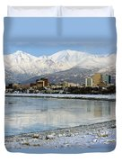 Anchorage Cityscape Duvet Cover