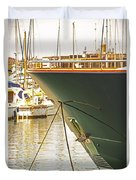 Anchored Yacht In Antibes Harbor Duvet Cover