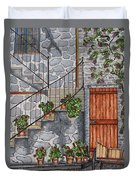 Ancient Grey Stone Residence Duvet Cover