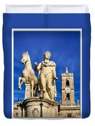 Ancient Marble Sculpture Of Castor At The Cordonata Stairs  Duvet Cover