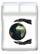 Android Hands Keep Earth Globe Safe On White Background Duvet Cover