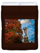 Angel And Boy In Foliage Scenery Duvet Cover