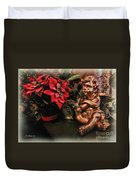Angel And Poinsettia Duvet Cover