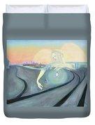 Angel Bringing Light To Meditating Woman At The Train Tracks Duvet Cover