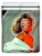 Angela Leather Red Fractal Duvet Cover