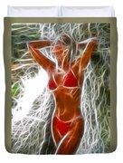 Angela Red Bikini Fractal Duvet Cover