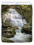 Angels At Benton Waterfall Duvet Cover by Debra and Dave Vanderlaan