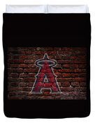 Angels Baseball Graffiti On Brick  Duvet Cover by Movie Poster Prints