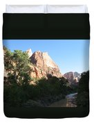 Angels Landing And Virgin River - Zion Np Duvet Cover