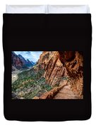 Angels Landing Trail From High Above Zion Canyon Floor Duvet Cover