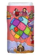 Angels With Hot Air Balloon Duvet Cover by Sarah Batalka