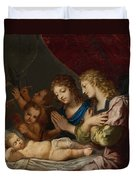Angles Adoring The Sleeping Christ Duvet Cover