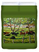 Angus Cows Under The Cool Shade By Prankearts Duvet Cover