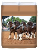 Anheuser Busch Budweiser Clydesdale Horses In Harness Usa Rodeo Duvet Cover
