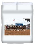 Anheuser Busch Clydesdales Pulling A Beer Wagon Usa Rodeo Duvet Cover