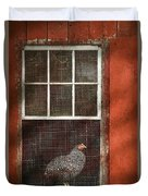 Animal - Bird - Chicken In A Window Duvet Cover