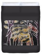 Animal In The Bush Feeds Young One. Duvet Cover