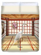 Animal - The Egret Duvet Cover by Mike Savad