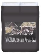 Animals Pose In The Remote Village. Duvet Cover