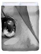 Anime Girl Eyes Black And White Duvet Cover