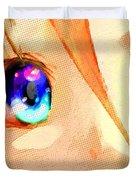Anime Girl Eyes Gold Duvet Cover