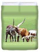 Ankole And Texas Longhorn Cattle Duvet Cover
