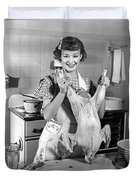 Anne Shirley And Her Turkey Duvet Cover by Underwood Archives
