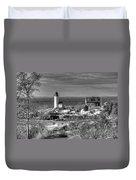 Annisquam Lighthouse Black And White Duvet Cover