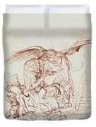 Annunciation  Duvet Cover by Rembrandt Harmenszoon van Rijn