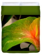Anthurium In Red And Green Duvet Cover