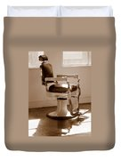 Antiquated Barber Chair In Sepia Duvet Cover