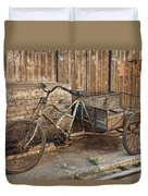 Antique Bicycle In The Town Of Daxu Duvet Cover