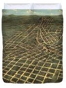 Antique Bird's-eye View Map Of Atlanta 1871 Duvet Cover