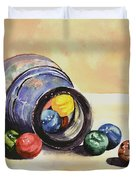Antique Bottle With Marbles Duvet Cover