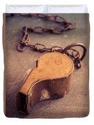 Antique Brass Military Whistle Duvet Cover